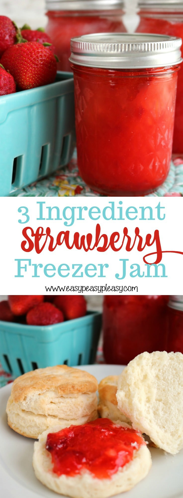Check out this easy 3 Ingredient Strawberry Freezer Jam recipe. It's the perfect way to learn canning without a pressure cooker. Plus you'll find some great ways to use up that freezer jam.