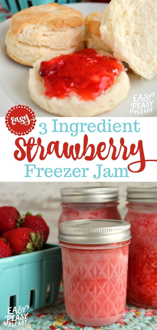 Easy 3 Ingredient Strawberry Freezer Jam will have you saving those fresh strawberries to use all year long. #strawberry #freezerjam #strawberryfreezerjam