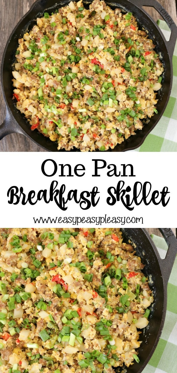 Check out how easy this One Pan Breakfast Skillet is to make. Satisfy your savory side with this dish for brunch, breakfast, or your next potluck. Plus the cleanup is super easy.