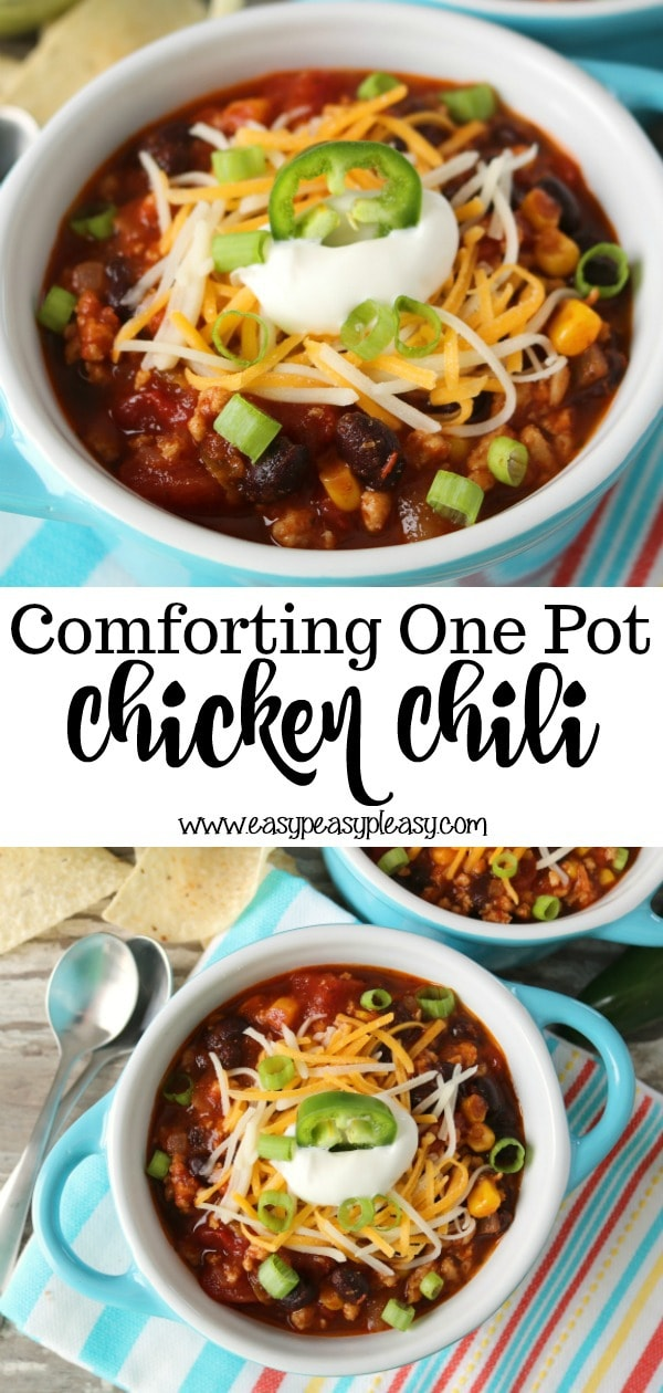 Make weeknights easy and delicious with this one pot Chicken Chili recipe your whole family will love!