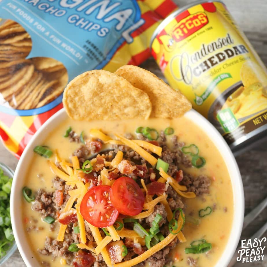 AD Meal prep made easy using Ricos Cheese and Chips to make this winner winner Bacon Cheeseburger Soup Dinner!