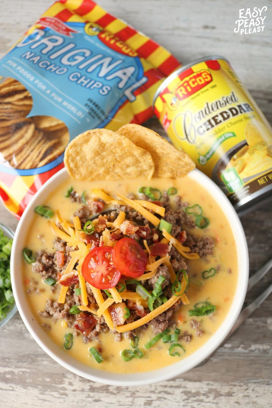 AD Ricos Bacon Cheeseburger Soup will warm your soul and make meal prep easy with this super easy freezer meal.