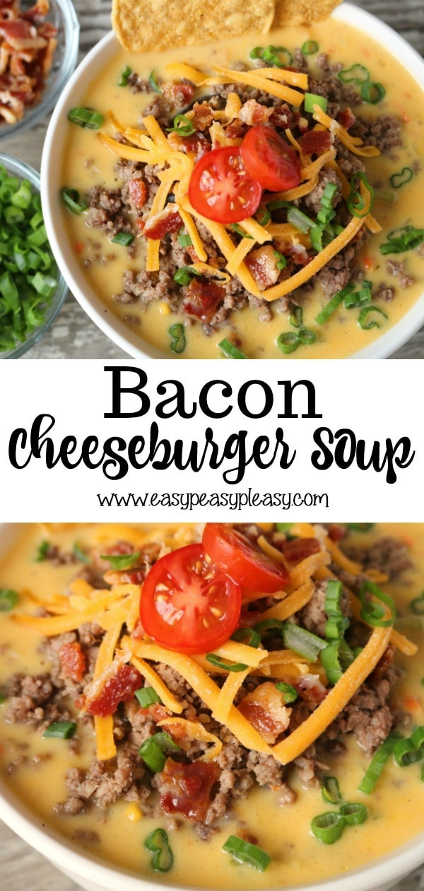Bacon Cheeseburger Soup is the perfect freezer meal to make make meal prep easy all month long.