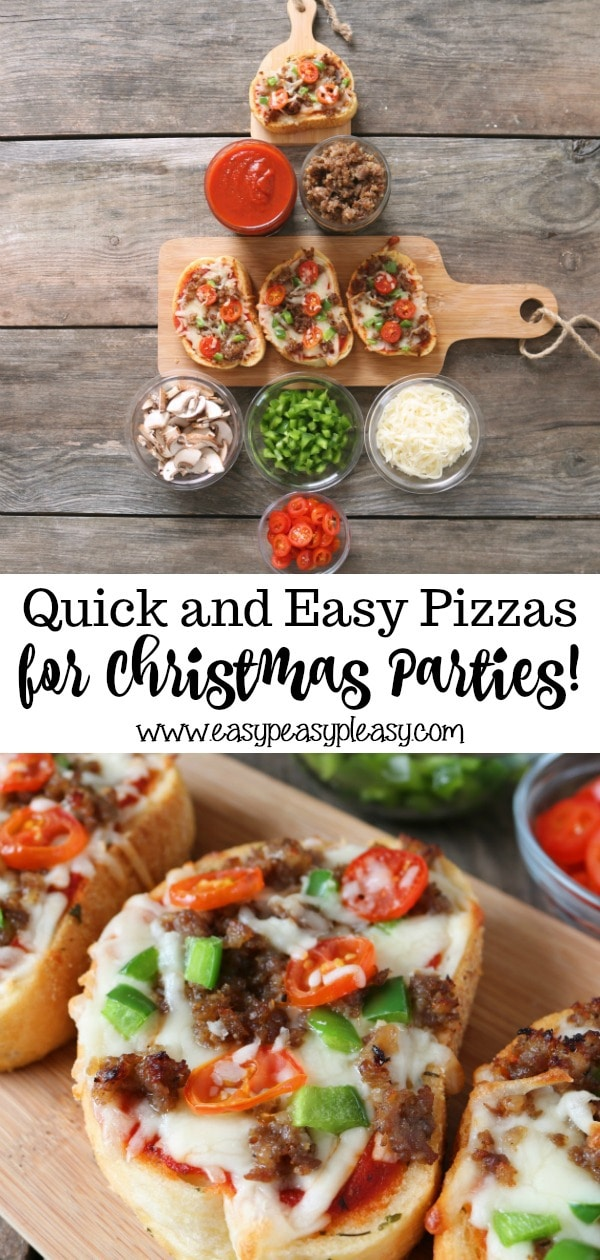 Make your Christmas party super easy with these customizable pizzas. Spend 20 minutes setting up and let your guests pick their favorite pizza toppings.
