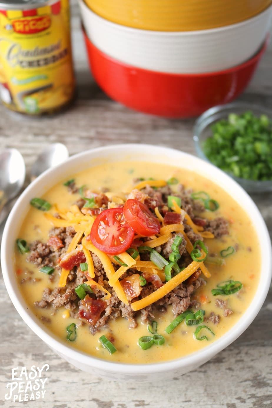 Ricos Bacon Cheeseburger Soup is the perfect freezer and meal prep idea to make dinner a breeze all month long.