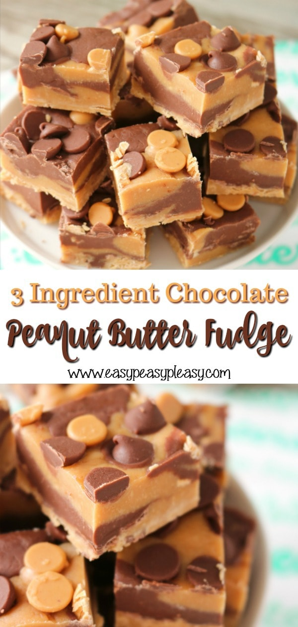 This 3 Ingredient Chocolate Peanut Butter Fudge is Perfect just to eat but also perfect for gifts and perfect for the holidays.