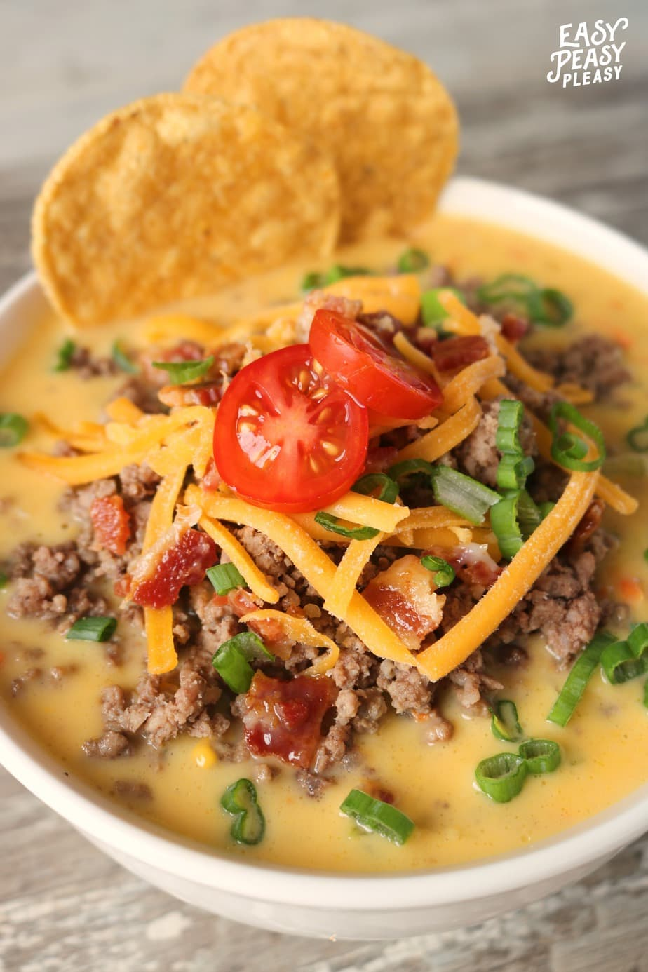 Winner Winner Bacon Cheeseburger Soup Dinner! This is the perfect warm and cheesy soup for dinner tonight as well as an easy meal prep freezer recipe.