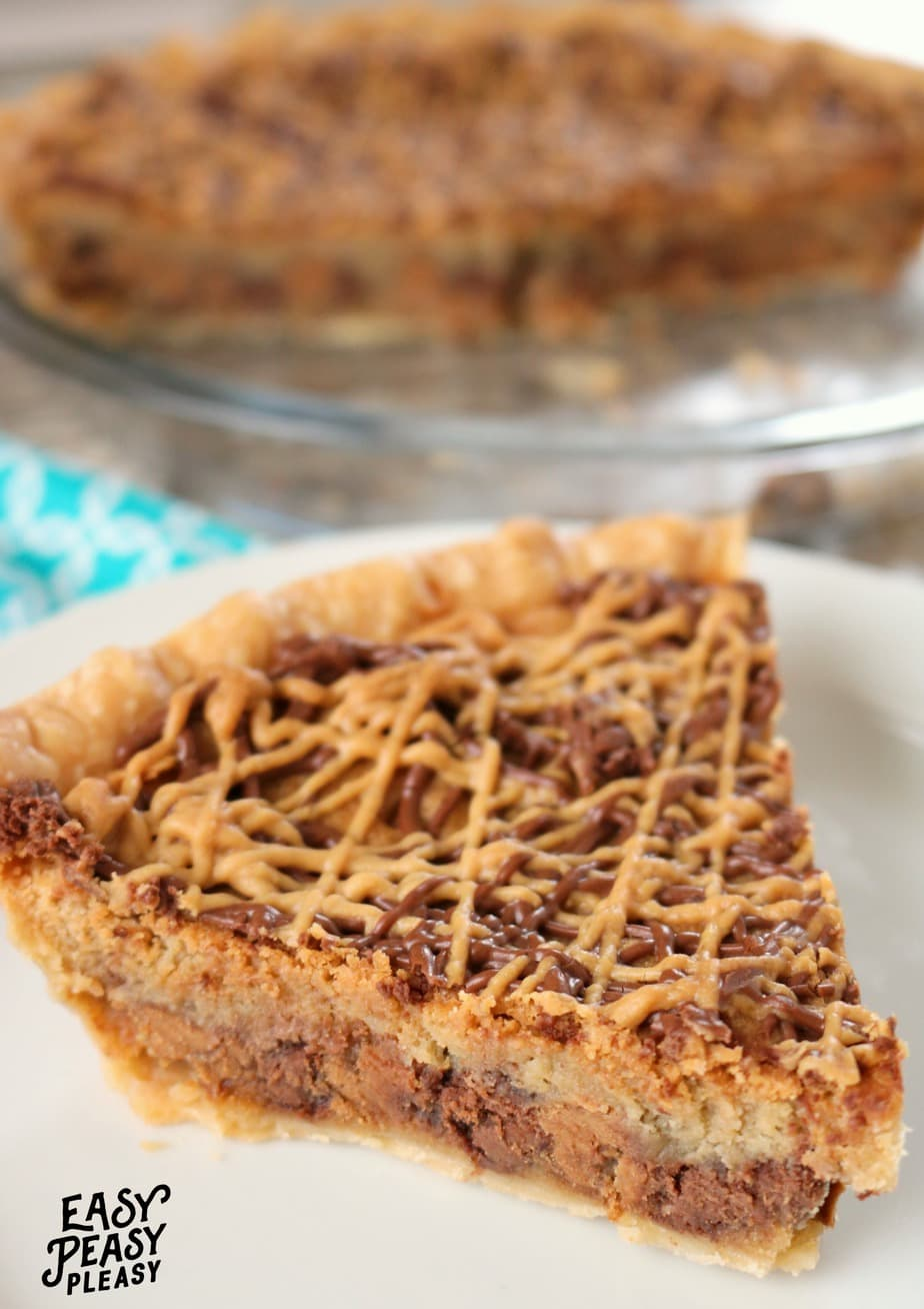Make a homemade cookie into a pie with this easy Peanut Butter Chocolate Chip Cookie Pie.