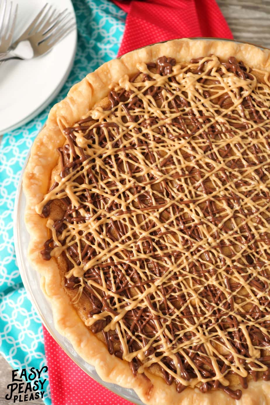 Peanut Butter Chip Chocolate Chip Cookie Pie is the perfect dessert for cookie and pie lovers.