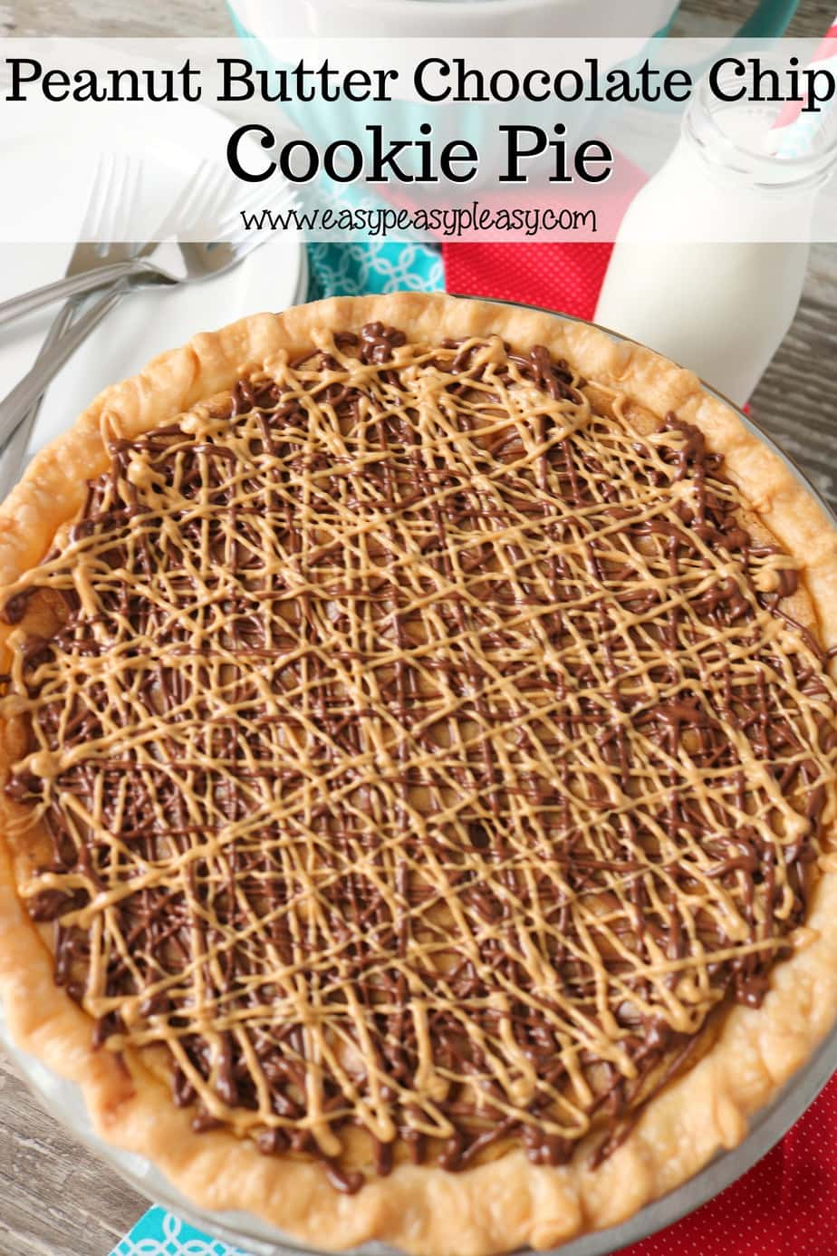 Peanut Butter Chip and Chocolate Chip Cookie Pie is the perfect dessert if you love cookies and pie.