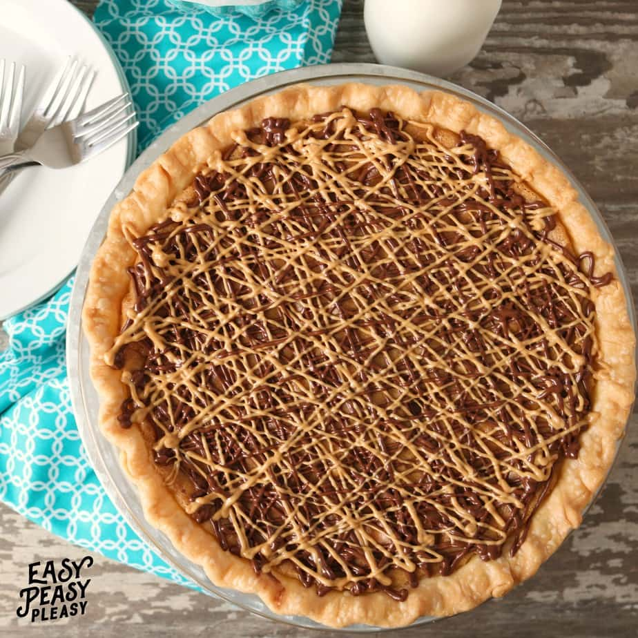 Peanut Butter Chocolate Chip Cookie Pie is the perfect dessert for cookie and pie lover.