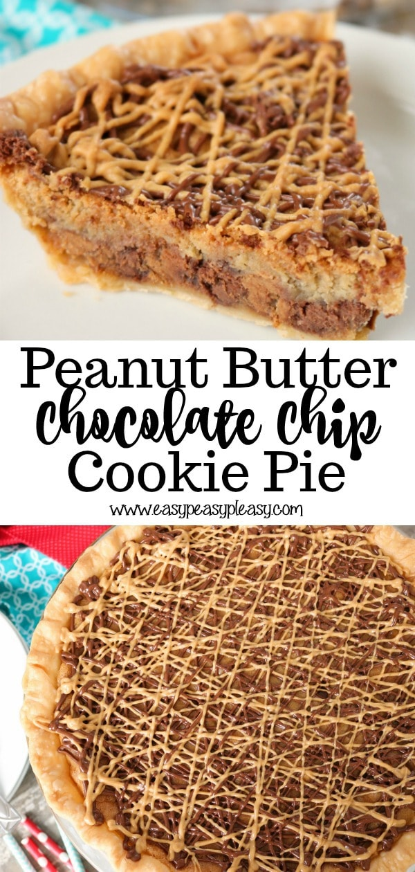 The best of worlds. Cookie plus pie makes the best Peanut Butter Chocolate Chip Cookie Pie.