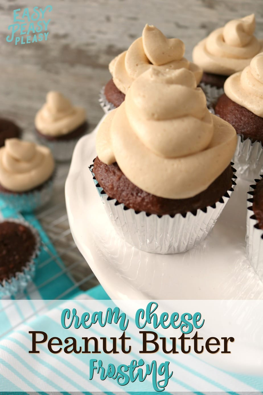 This Cream Cheese Peanut Butter Frosting is only 4 ingredients and will take your cupcakes or boxed cake mix to the next level. #frosting #peanutbutter #creamcheese