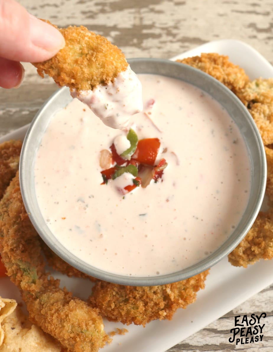 Up your ranch dip with some hot sauce and store bought Pico De Gallo. Quick and easy Spicy Pico De Gallo Ranch Dip!