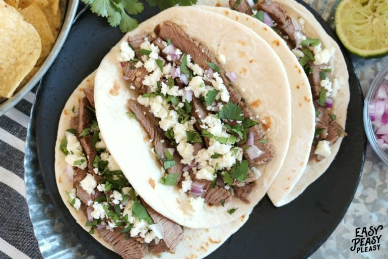 Deliciously quick and easy Steak Tacos perfect for any night of the week, Cinco De Mayo, or Taco Tuesday.