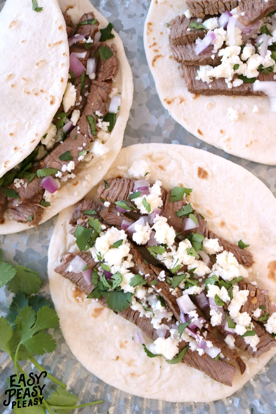 Easy and delicious Steak Soft Tacos for busy weeknights at Easy Peasy Pleasy.