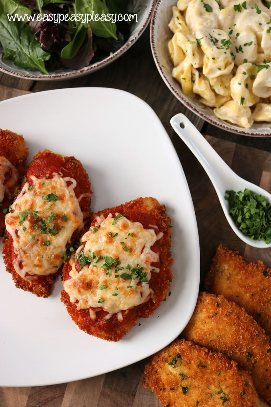 Easy homemade Chicken Parmesan is requested by my kiddo on a weekly basis.