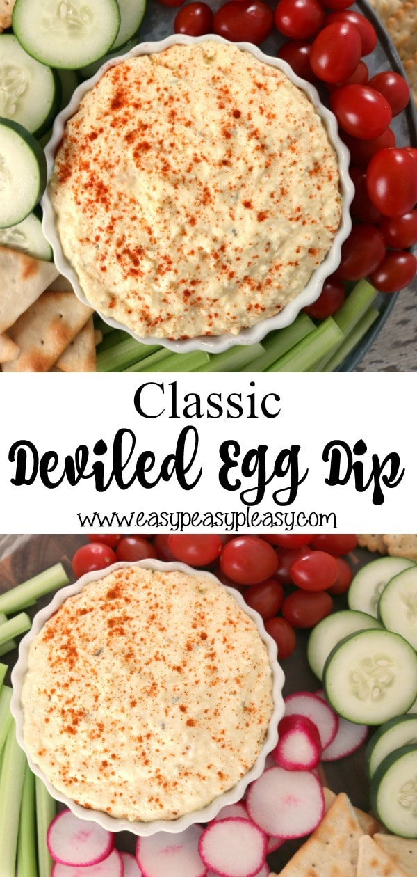 Reinvent the Classic Deviled Egg with this easy Deviled Egg Dip. Perfect for holidays, game days, or as anappetizer. #deviledegg #deviledeggs #deviledeggdip #appetizer #holidayfood #partyfood