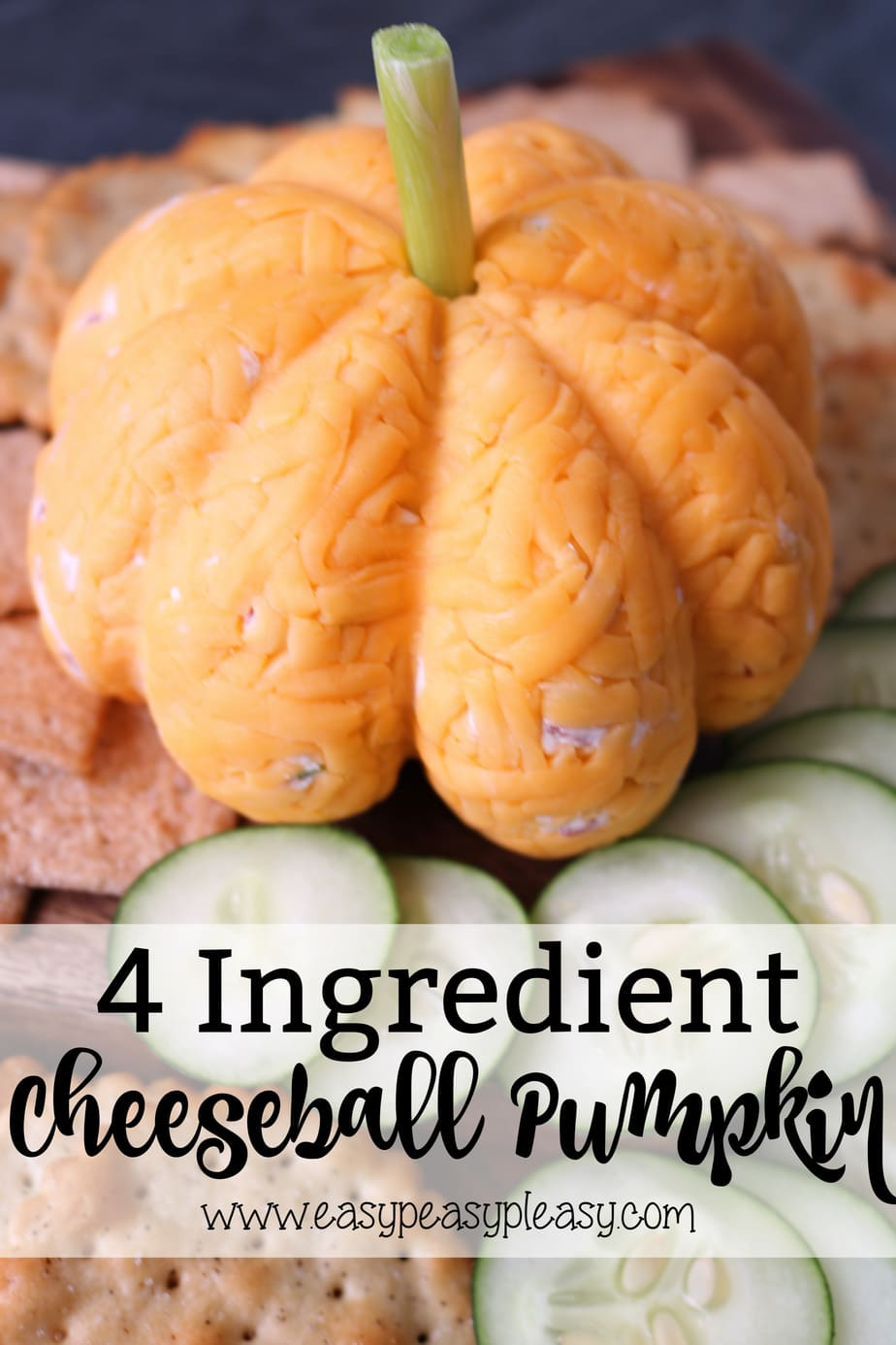 Cheeseball Pumpkin using only 4 Ingredients perfect for Halloween and Thanksgiving. #cheeseball #cheesballpumpkin #halloweencheeseball #thanksgivingcheeseball