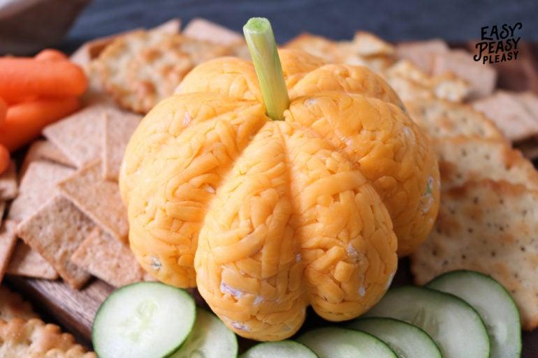 Easy 4 Ingredient Cheeseball Pumpkin