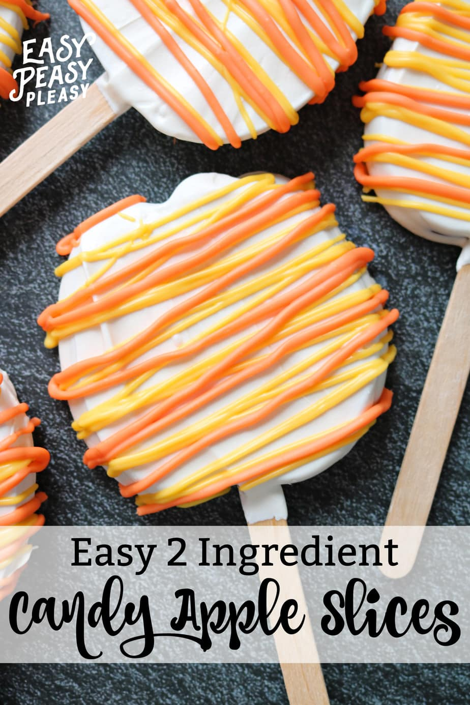 Easy Candy Apple Slices using only 2 Ingredients with the colors of candy corn perfect for Halloween.