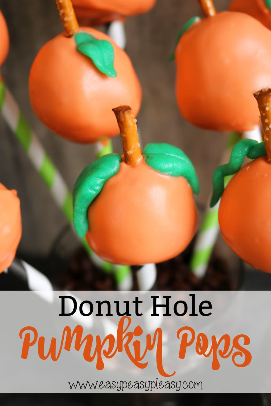 Easy Donut Hole Pumpkin Pops perfect for Fall, Halloween, and Thanksgiving. All you need are 5 simple ingredients.