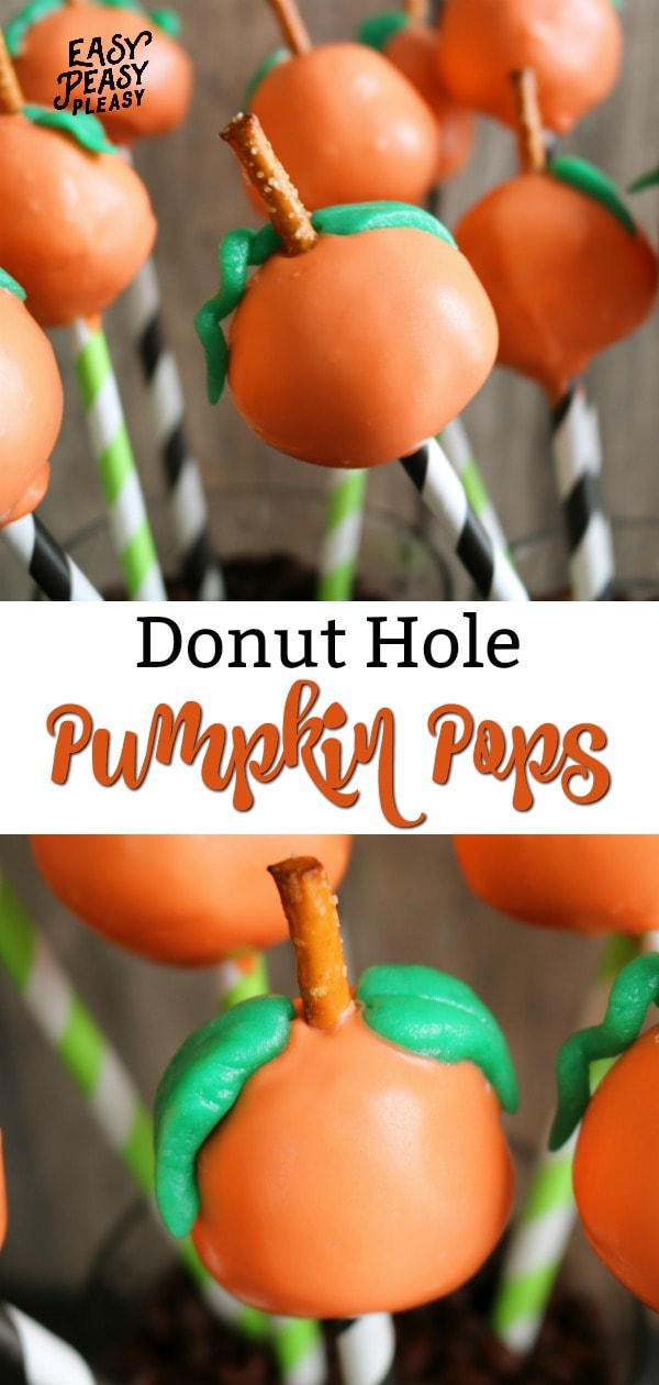 You only need 5 ingredients to make these super cute Donut Hole Pumpkin Pops. Perfect sweet treat recipe for Fall, Halloween, and Thanksgiving.