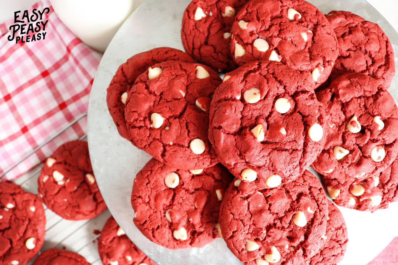 4 Ingredient Red Velvet Cake Mix Cookies perfect for Valentines Day!