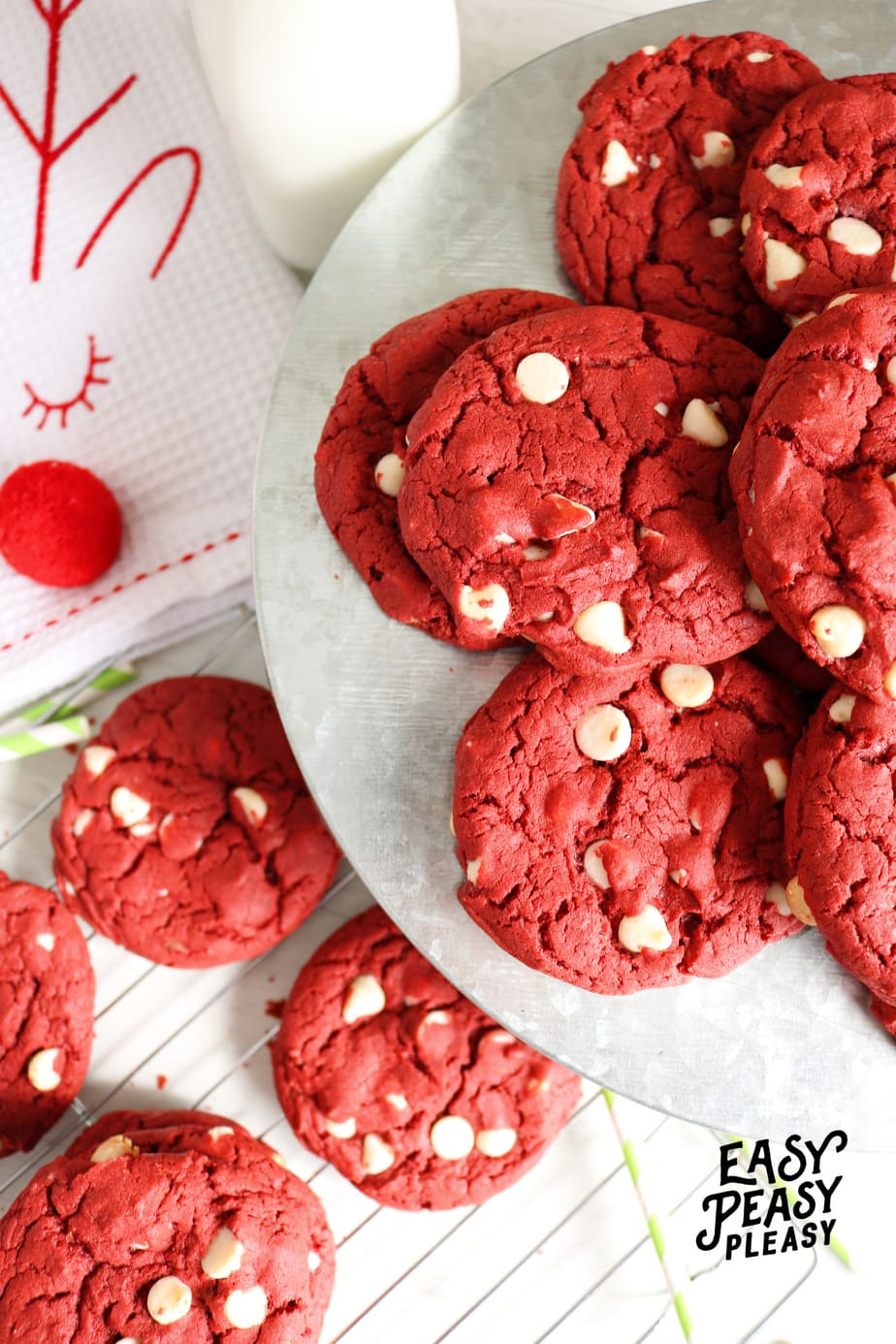 Easy 4 Ingredient Red Velvet Cake Mix Cookies perfect for Christmas.