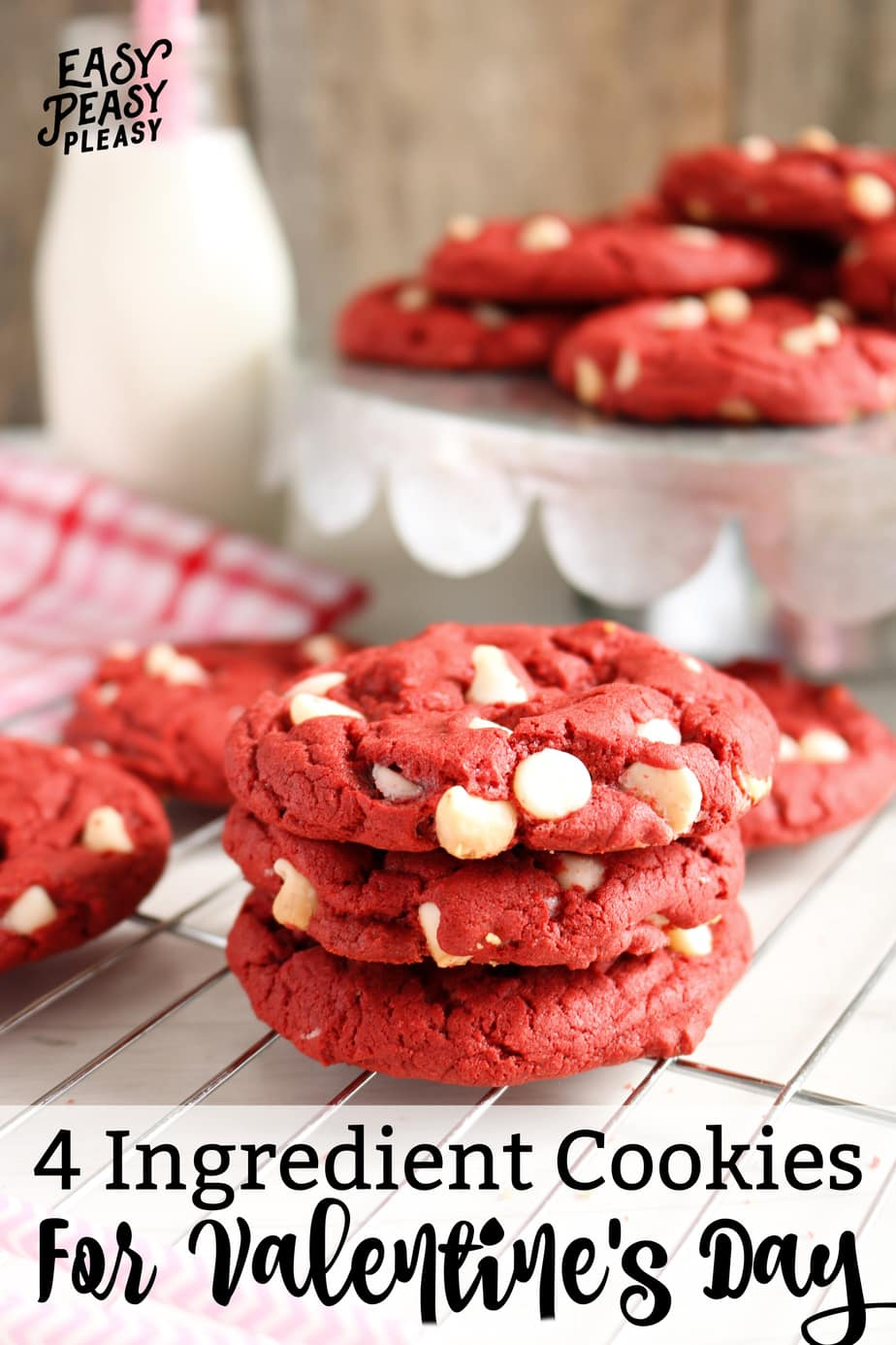 Easy 4 Ingredient Red Velvet Cake Mix Cookies perfect for Valentines Day!