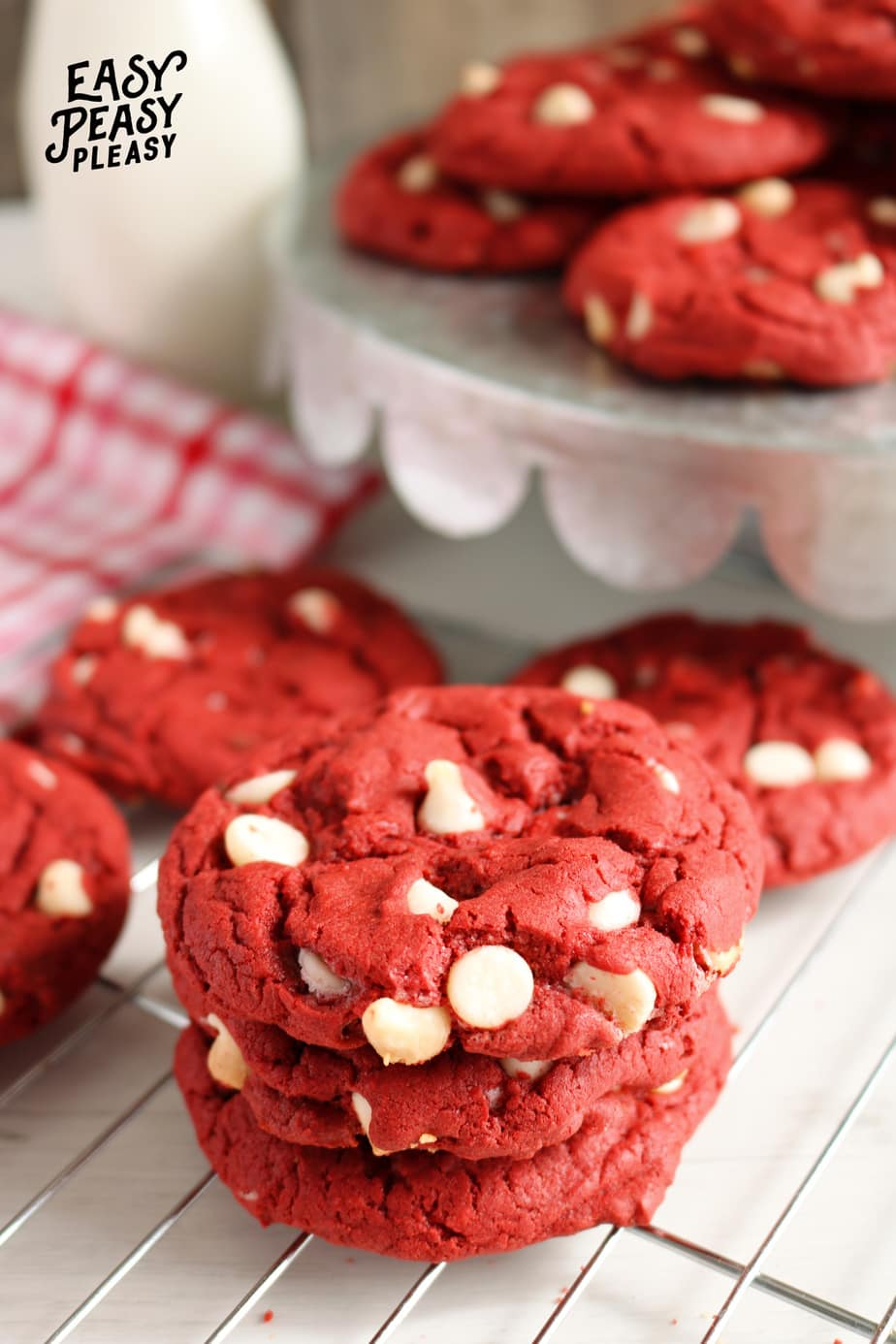 Easy 4 Ingredient Red Velvet Cake Mix Cookies perfect to make for Valentines Day!