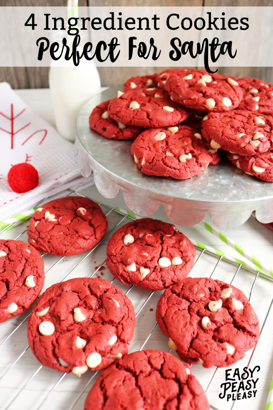 Easy 4 Ingredient Red Velvet Cake Mix Cookies perfect to whip up for Santa Cookies and milk.