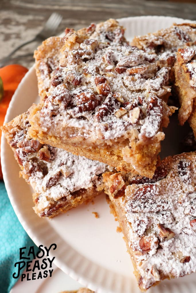 (AD) Only 7 easy ingredients to make the most delicious Ooey Gooey Pumpkin Spice Bars.