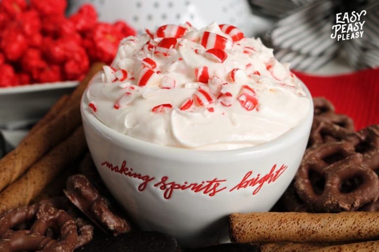(ad) Easy 4 Ingredient Peppermint Dip perfect for Christmas.