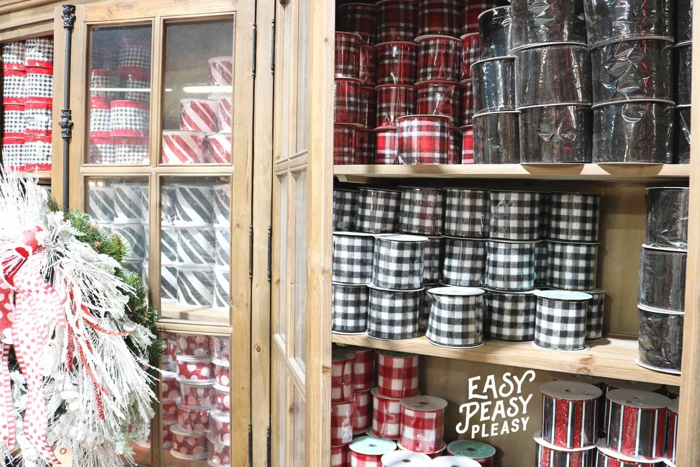 (ad) Tons of Christmas Ribbon at the Guess and Company Christmas at the Warehouse sale.