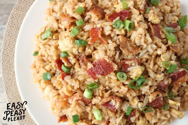 Bacon and Egg Fried Rice comes together quick. Use leftover rice , for an easy quick breakfast or easy weeknight meal.
