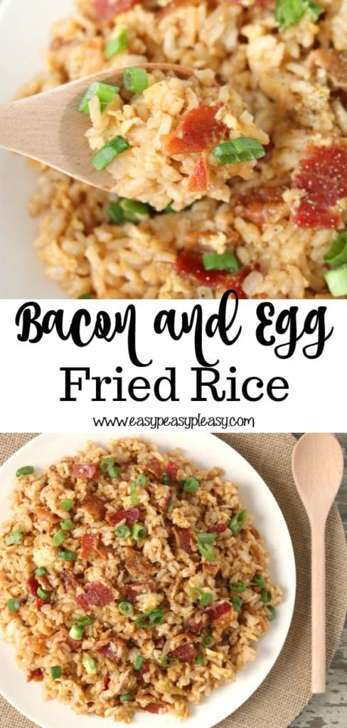 Easy Bacon and Egg Fried Rice using up your pantry staples plus leftover soy packets.