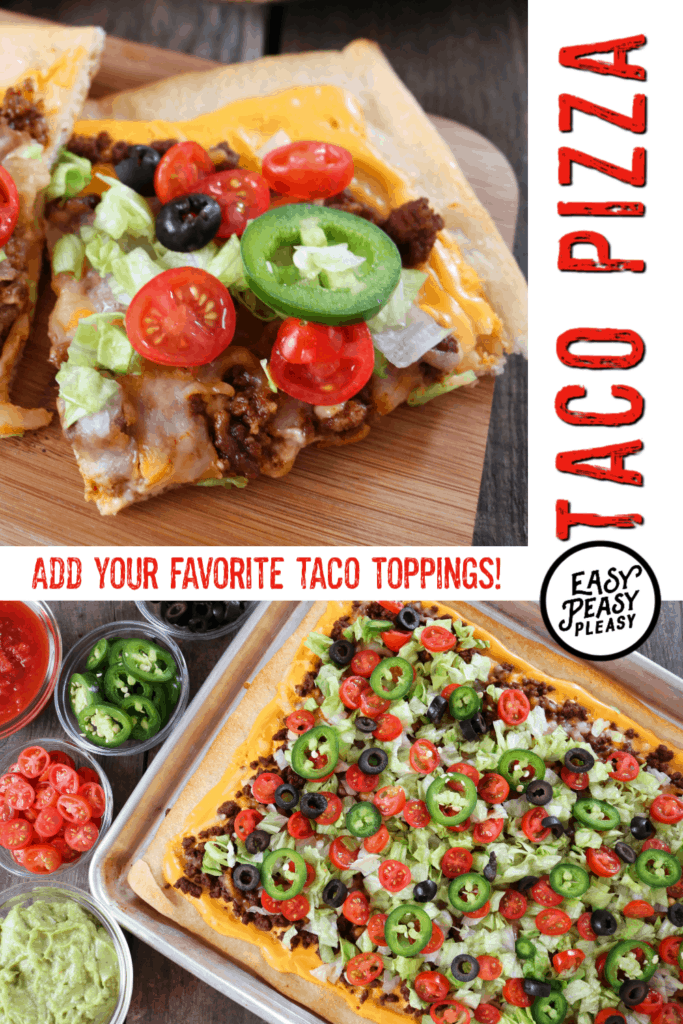Cook up this deliciously easy Taco Pizza with your favorite taco toppings and an easy cheese sauce for fun weeknight dinner.