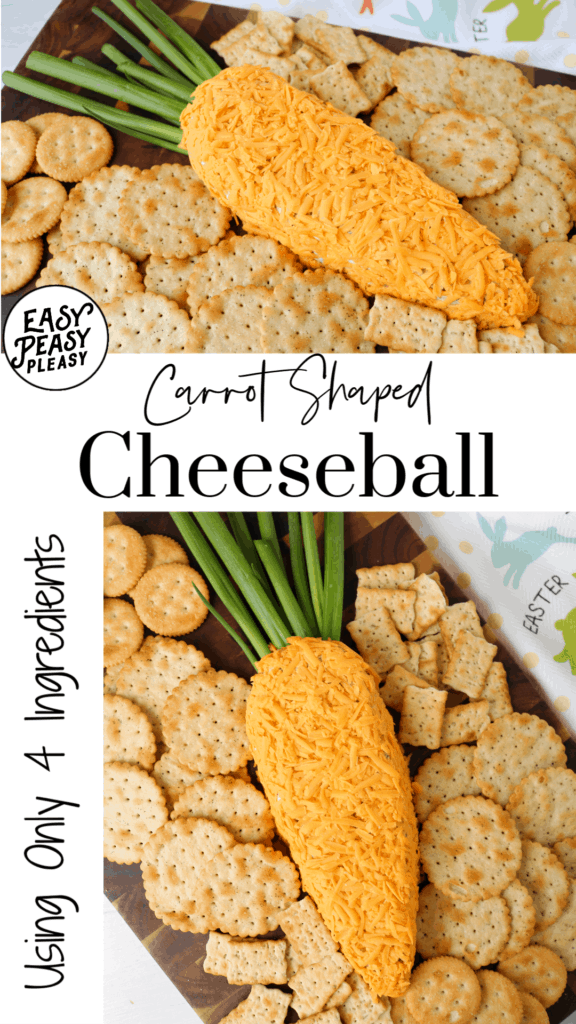 This 4 Ingredient Carrot Shaped Cheeseball makes the perfect snack or appetizer.