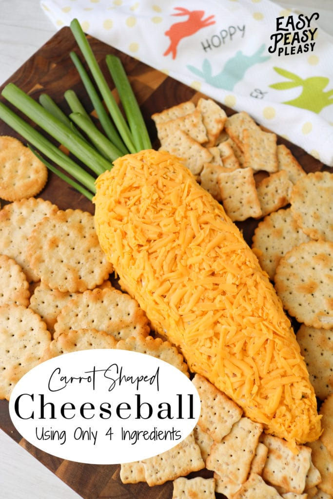 You only need 4 ingredients to mix up this cute Carrot Shaped Cheeseball.