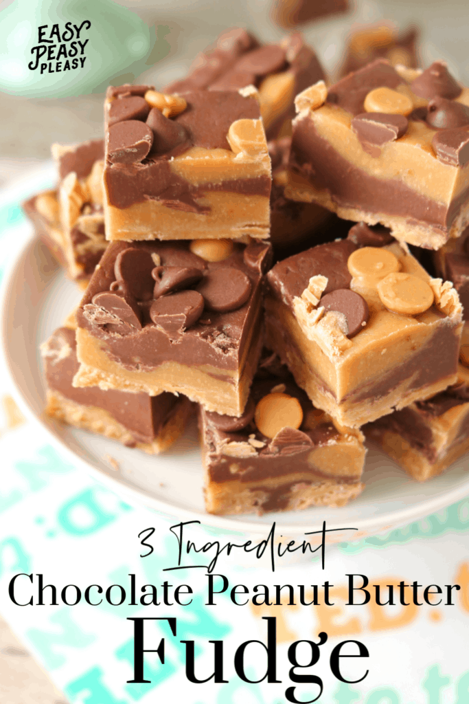 3 Ingredient Chocolate Peanut Butter Fudge takes only 5 minutes and a microwave.