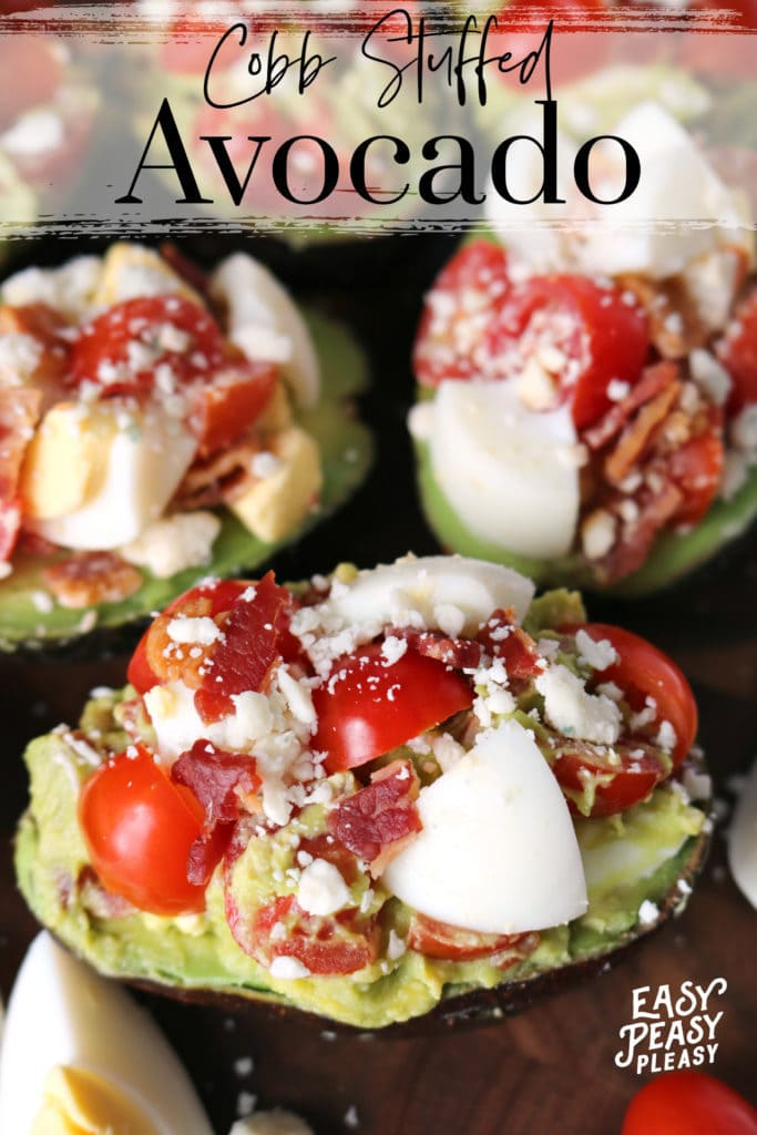 Cobb Salad Stuffed Avocados using Hard-Boiled Eggs