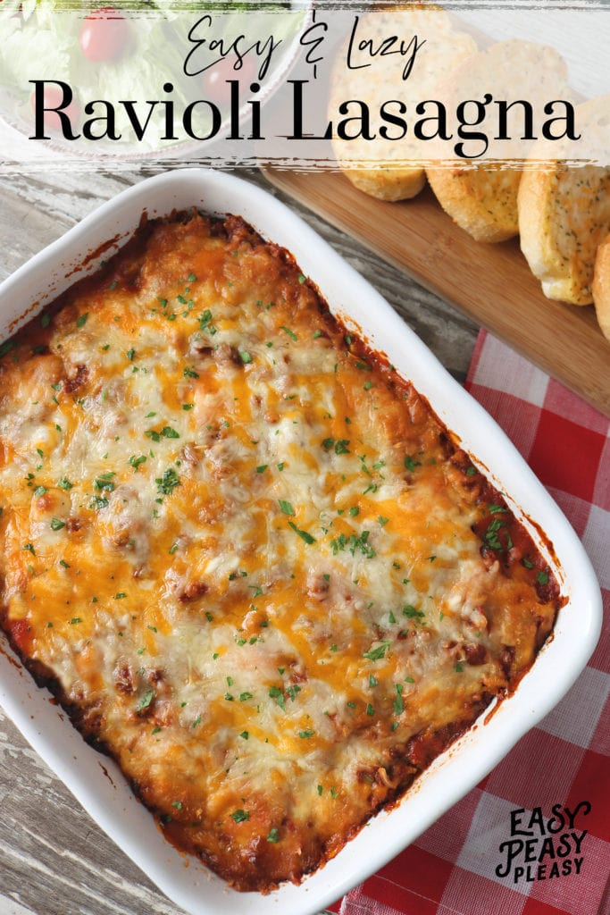Easy Lazy Ravioli Lasagna Recipe using only 5 Ingredients for any night of the week.