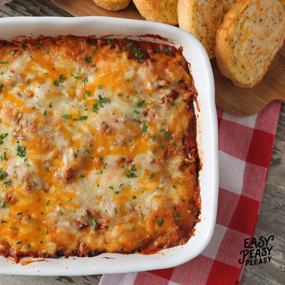 Lazy Lasagna Ravioli Recipe using only 5 ingredients.
