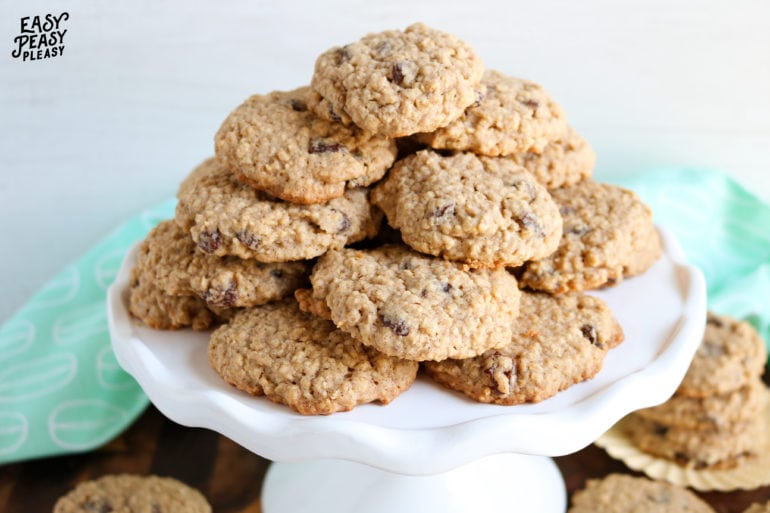 Chewy Oatmeal Raisin Cookies using pantry staples.