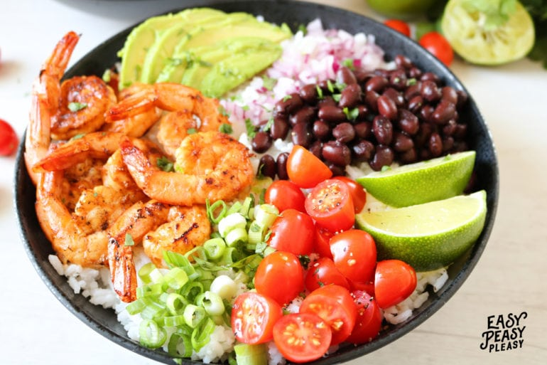 Chipotle Lime Shrimp Bowls bring the flavor all year year long. Great for grilling or cooked in a skillet. Mix it up for Taco Tuesday or Cinco De Mayo.