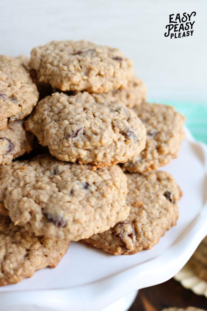 Easy Soft Batch Oatmeal Raisin Cookies.