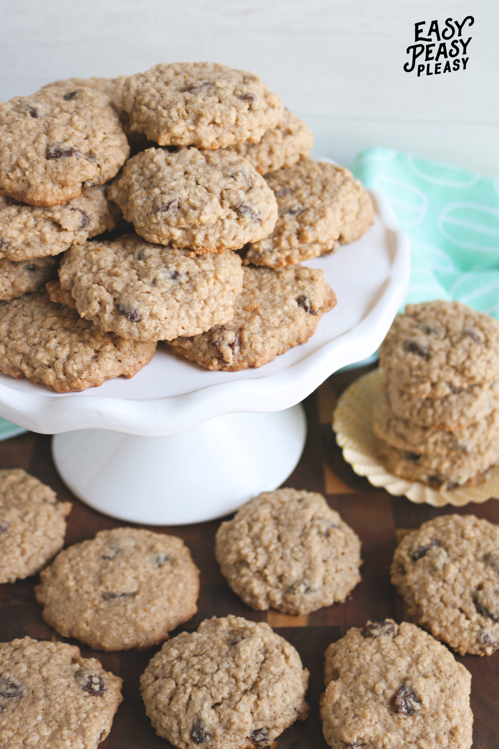 These soft batch Oatmeal Raisin Cookies are the perfect way to use up your pantry staples.