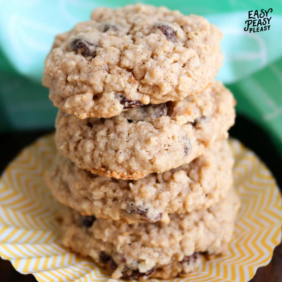 Using your pantry staples, whip up a batch of these saft and chewy Oatmeal Raisin Cookies.